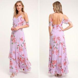 Lavender 🌸Floral Flutter Sleeve Maxi Dress - M